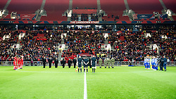 Players, officials and members of Royal Tank Regiment and Bristol University Officer Training Corps  stand in silence - Mandatory by-line: Paul Knight/JMP - 05/11/2016 - FOOTBALL - Ashton Gate - Bristol, England - Bristol City v Brighton and Hove Albion - Sky Bet Championship