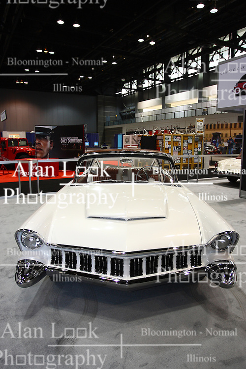 08 February 2012:  The 1954 Mercury XM-800 Dream Concept car was introduced at the 1954 Detroit Auto Show, this dream car was designed by a team led by John Najjar, Chief Stylist for Lincoln-Mercury. This rare example of a Ford designed prototype  became one of the most popular Concept Cars of its day. The XM-800 demonstrated many advanced design features which became ubiquitous by the end of the decade. Dramatic and futuristic, it is a bold one-off design. Chicago Auto Show, Chicago Automobile Trade Association (CATA), McCormick Place, Chicago Illinois