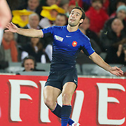Morgan Parra, France, kicks a penalty during the Wales V France Semi Final match at the IRB Rugby World Cup tournament, Eden Park, Auckland, New Zealand, 15th October 2011. Photo Tim Clayton...