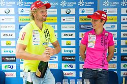Klemen Bauer and Teja Gregorin during press conference of Slovenian Biathlon Team after medals at IBU Summer Biathlon World Championships in Tyumen (Russia) on August 26, 2014 in SZS, Ljubljana, Slovenia. Photo by Vid Ponikvar / Sportida