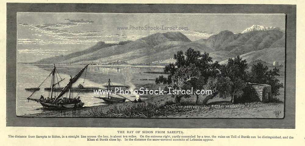 Wood engraving of The Bay of Sideon from Sarepta. The distance from Sarepta to Sidon, in a straight line across the bay, is about ten miles. On the extreme right, partially covered by a tree, the ruins on Tell el Burâk can be distinguished from 'Picturesque Palestine, Sinai and Egypt' by Wilson, Charles William, Sir, 1836-1905; Lane-Poole, Stanley, 1854-1931 Volume 3. Published in by J. S. Virtue and Co 1883