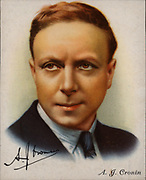 Archibald Joseph (AJ) Cronin (1896-1981) Scottish novelist. Graduated in medicine, 1919, and practiced until 1930. Cronin had success with novels drawn from his medical experiences, particularly 'The Citadel' (1937) and 'The Keys of the Kingdom' (1941).  From a series of cards of 'Famous British Authors' (London, 1937).