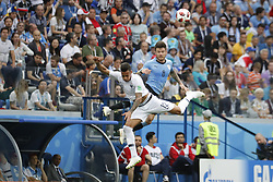 France's Corentin Tolisso battles Uruguay's Nahitan Nandez during the 2018 FIFA World Cup Russia game 1/4 final game, France vs Uruguay In Nijni-Novgorod Stadium, Nijni-Novgorod, Russia on July 6th, 2018. France won 2-0. Photo by Henri Szwarc/ABACAPRESS.COM