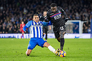 Brighton and Hove Albion (11) Anthony Knockaert, Crystal Palace #15 Jeffrey Schlupp during the Premier League match between Brighton and Hove Albion and Crystal Palace at the American Express Community Stadium, Brighton and Hove, England on 28 November 2017. Photo by Sebastian Frej.
