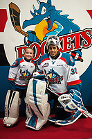 KELOWNA, CANADA - JANUARY 3: Roman Basran #30 of the Kelowna Rockets poses with a minor hockey goalie after warm up against the Tri-City Americans on January 3, 2017 at Prospera Place in Kelowna, British Columbia, Canada.  (Photo by Marissa Baecker/Shoot the Breeze)  *** Local Caption ***