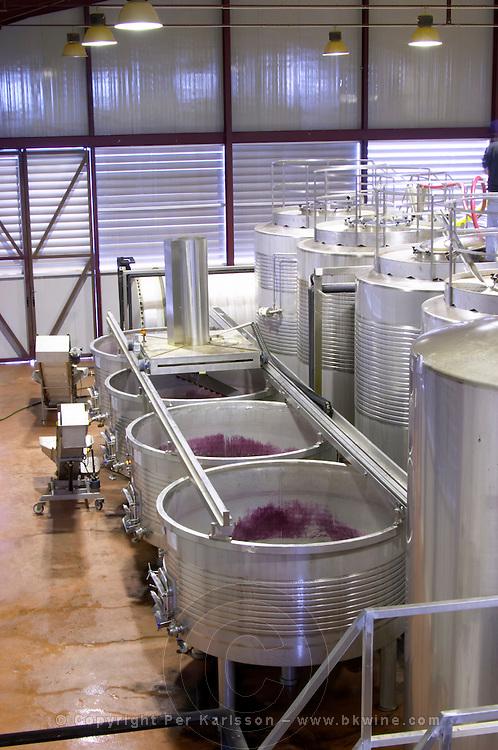 Fermentation tanks. Lagares, Portuguese low and wide maceration vats. Herdade das Servas, Estremoz, Alentejo, Portugal