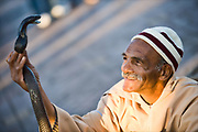 a snake charmer in Djemaa el fna in marrakech morocco Morocco travel photography