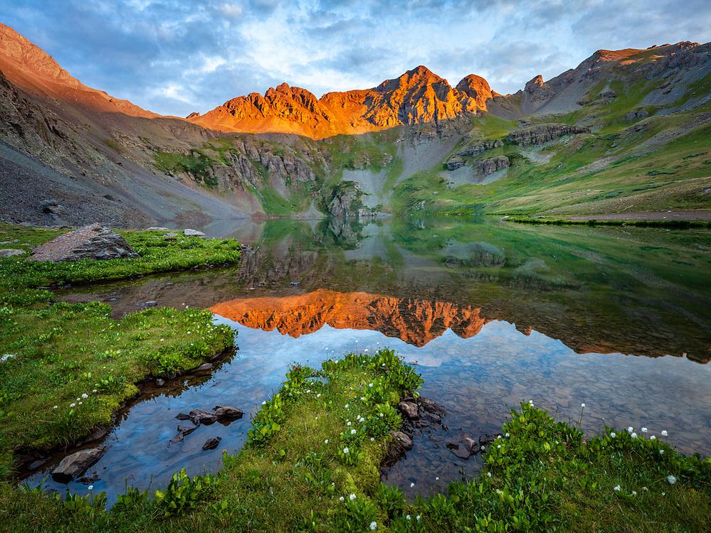 Summer sunset reflection on an alpine tarn, Clear Lake Basin