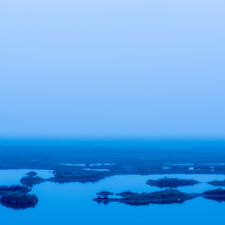 A Rye, New Hampshire salt marsh on a foggy morning.