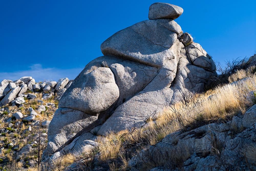 Serra da Estrela mountain range in the Natural Park. Glacial erratics boulders form interesting sculptures.