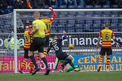 Falkirk's Ian McShane scoring their goal. half time : Falkirk 1 v 1 Partick Thistle, Scottish Championship game played 16/3/2019 at The Falkirk Stadium.