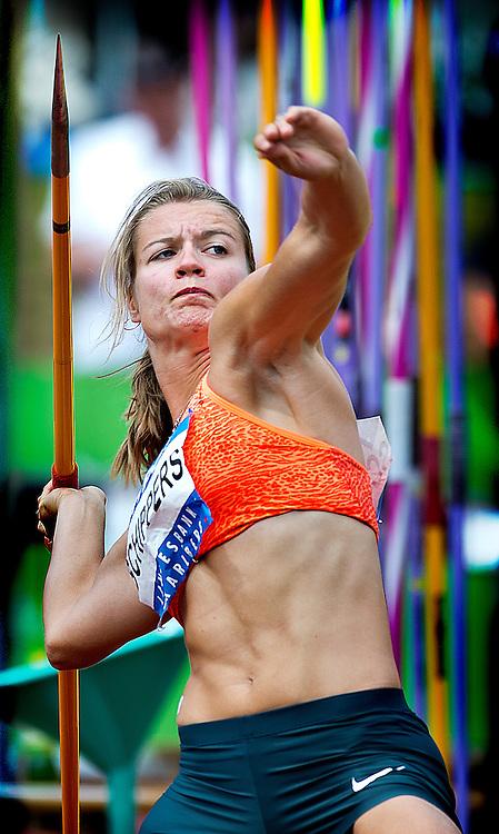 Oostenrijk, Gotzis, 31-05-2015<br /> Atletiek, Zevenkamp, Hepathlon, 2e dag.<br /> Speerwerpen<br /> Dafne Schippers tijdens speerwerpen waarbij zij een afstand haalt van 42,22 meter.