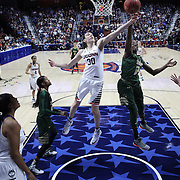 Breanna Stewart, UConn, challenges Alisia Jenkins, USF, for a rebound during the UConn Huskies Vs USF  2016 American Athletic Conference Championships Final. Mohegan Sun Arena, Uncasville, Connecticut, USA. 7th March 2016. Photo Tim Clayton