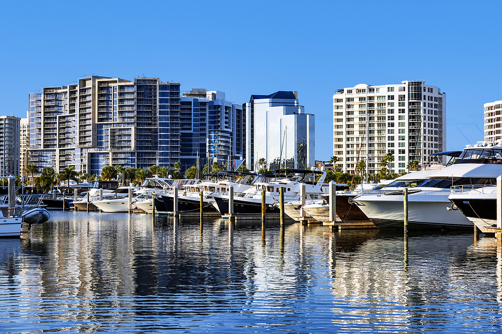 Yachts with city skyline, Sarasota, Florida, USA.