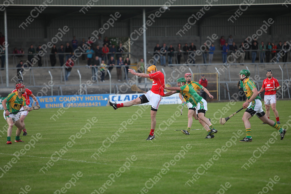 Crusheens Cian Dillon in action against Broadford in Cusack Park on Friday night.<br /> Pic. Brian Arthur/ Press 22.