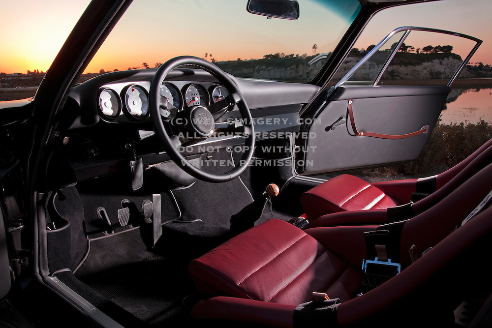Automotive Photographer and Promotional Writer Randy Wells, Image of a Porsche 1970 911 RSR Replica interior near Newport Beach, California, America west coast, property released