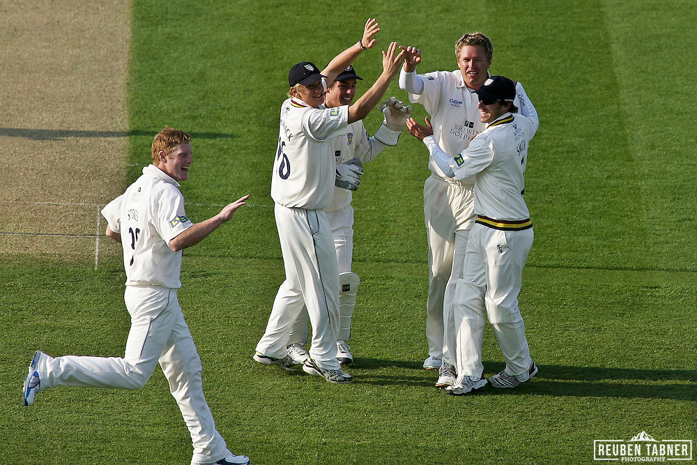 ©Reuben Tabner. 20/04/2011...Durham CCC v Sussex CCC.LV= County Championship..Durham celebrate their first wicket of the match, Ed Joyce, who was bowled by Mitchell Claydon and caught by Gordon Muchall with 2 runs to his name...Photo credit should read Reuben Tabner
