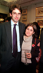 SIR EUAN ANSTRUTHER-GOUGH-CALTHORPE and MISS ANNA WRIGHT, at a party in London on 8th November 2000.OIW 55