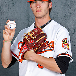 February 26, 2011; Sarasota, FL, USA; Baltimore Orioles starting pitcher Brandon Erbe (60) poses during photo day at Ed Smith Stadium.  Mandatory Credit: Derick E. Hingle