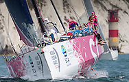 The all female team of Team SCA pass the Needles at the start of the 90th anniversary Rolex Fastnet Race on the Solent. A record fleet of 370 yachts will compete to win the Fastnet Challenge Cup.<br /> The 600 nautical mile race starts in Cowes, Isle of Wight, heading to the Fastnet Rock off the south west coast of Ireland and finishes in Plymouth.<br /> It is the world's biggest offshore race with 75% amateur sailors and professional yachtsmen competing against each other. <br /> Picture date Sunday 16th August, 2015.<br /> Picture by Christopher Ison. Contact +447544 044177 chris@christopherison.com