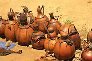 Africa, Ethiopia, Omo River Valley Hamer Tribe handicraft calabash gourds on display