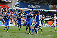 Peter Whittingham  of Cardiff city © celebrates after he scores his teams 2nd goal from a penalty to make it 2-1. Skybet football league championship match, Cardiff city v Bolton Wanderers at the Cardiff city Stadium in Cardiff, South Wales on Saturday 23rd April 2016.<br /> pic by Andrew Orchard, Andrew Orchard sports photography.