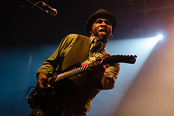 "© Licensed to London News Pictures. 08/03/2013. London, UK.   Vernon Reid of Living Colour performing live at KOKO at the band's only UK date on their tour celebrating the 25th Year Anniversary for their debut album Vivid.  In 1990 they won a Grammy Award for Best Hard Rock Performance for their song ""Cult of Personality"", which featured on ""Vivid"".  The band formed in New York City in 1984 and consist of Vernon Reid (guitar), Corey Glover (vocals), Will Calhoun (drums) , and Doug Wimbish (bass).  Photo credit : Richard Isaac/LNP"