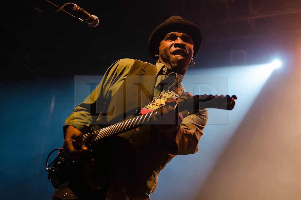 """© Licensed to London News Pictures. 08/03/2013. London, UK.   Vernon Reid of Living Colour performing live at KOKO at the band's only UK date on their tour celebrating the 25th Year Anniversary for their debut album Vivid.  In 1990 they won a Grammy Award for Best Hard Rock Performance for their song """"Cult of Personality"""", which featured on """"Vivid"""".  The band formed in New York City in 1984 and consist of Vernon Reid (guitar), Corey Glover (vocals), Will Calhoun (drums) , and Doug Wimbish (bass).  Photo credit : Richard Isaac/LNP"""