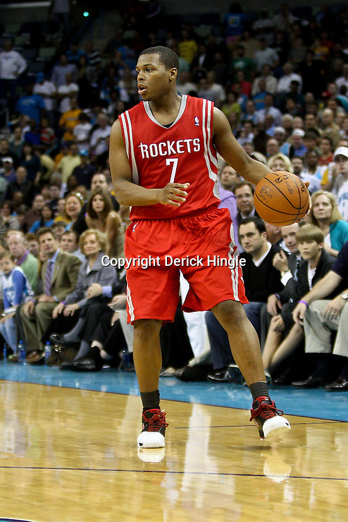 April 6, 2011; New Orleans, LA, USA; Houston Rockets point guard Kyle Lowry (7) against the New Orleans Hornets during the fourth quarter at the New Orleans Arena. The Hornets defeated the Rockets 101-93 and clinched a playoff spot with the victory.   Mandatory Credit: Derick E. Hingle-US PRESSWIRE