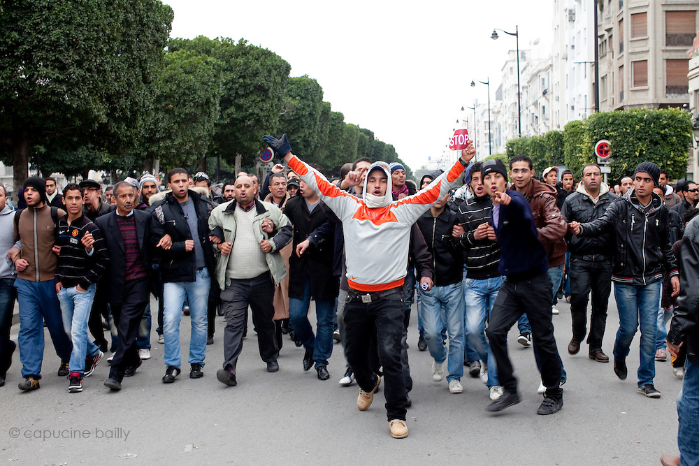 Tunis, Tunisia. January 25th 2011.Protesters on Avenue Bourguiba demand the removal of members of the ousted president's regime (Zine El Abidine Ben Ali) still in the government......