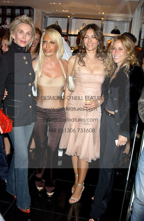 Left to right,  TRUDIE STYLER, DONATELLA VERSACE, LIZ HURLEY and singer SHERYL CROWE at a party hosted by Versace during London Fashion Week 2005 at their store in Slaone Street, London on 19th September 2005.<br />