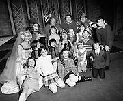 Maureen Potter (centre), and (l-r, back row) Chris Curran, Danny Cummins, Eugene Lambert and Austin Gaffney entertain Belfast Children at the Gaiety Pantomime.<br /> 27/01/1972
