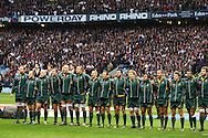 The Australian team sings the national anthem during the Investec series international between England and Australia at Twickenham, London, on Saturday 13th November 2010. (Photo by Andrew Tobin/SLIK images)