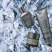 Clinique mens range of products on a bed of ice, Ray Massey is an established, award winning, UK professional photographer, shooting creative advertising and editorial images from his stunning studio in a converted church in Camden Town, London NW1. Ray Massey specialises in drinks and liquids, still life and hands, product, gymnastics, special effects (sfx) and location photography. He is particularly known for dynamic high speed action shots of pours, bubbles, splashes and explosions in beers, champagnes, sodas, cocktails and beverages of all descriptions, as well as perfumes, paint, ink, water – even ice! Ray Massey works throughout the world with advertising agencies, designers, design groups, PR companies and directly with clients. He regularly manages the entire creative process, including post-production composition, manipulation and retouching, working with his team of retouchers to produce final images ready for publication.