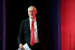 © Licensed to London News Pictures. 28/09/2016. Liverpool, UK. JEREMY CORBYN arrives on stage tp deliver his leaders speech at day four of the Labour Party Annual Conference, held at the ACC in Liverpool, Merseyside, UK. Photo credit: Ben Cawthra/LNP