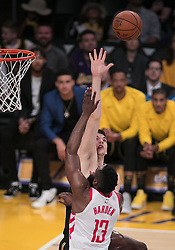 April 10, 2018 - Los Angeles, California, U.S - Ivica Zubac #40 of the Los Angeles Lakers blocks a shot by James Harden #13 of the Houston Rockets during their NBA game on Tuesday April 10, 2018 at Staples Center in Los Angeles, California. Lakers lose to Rockets, 105-99. (Credit Image: © Prensa Internacional via ZUMA Wire)