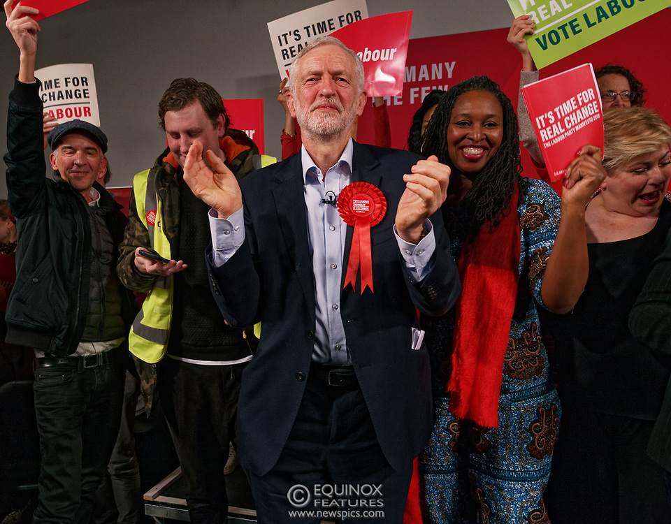 London, United Kingdom - 11 December 2019<br /> Labour Party leader Jeremy Corbyn speaking at their final campaign rally before the General Election 2019 at Hoxton Docks, London, England, UK.<br /> (photo by: EQUINOXFEATURES.COM)<br /> Picture Data:<br /> Photographer: Equinox Features<br /> Copyright: ©2019 Equinox Licensing Ltd. +443700 780000<br /> Contact: Equinox Features<br /> Date Taken: 20191211<br /> Time Taken: 21560736<br /> www.newspics.com