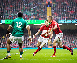 Gareth Anscombe of Wales<br /> <br /> Photographer Simon King/Replay Images<br /> <br /> Six Nations Round 5 - Wales v Ireland - Saturday 16th March 2019 - Principality Stadium - Cardiff<br /> <br /> World Copyright © Replay Images . All rights reserved. info@replayimages.co.uk - http://replayimages.co.uk