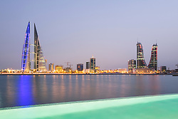 Skyline of Manama city in Bahrain from new Four Seasons luxury Hotel