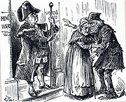 Mr Bumble refusing Darby and Joan entry to the Workhouse together. Men and women were housed in separate wards and old couples were reluctant to spend their last days apart.  Cardinal Manning wrote 'They will endure any privation .. rather than break up their homes'. From 'Punch', London, 1888.