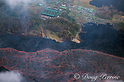 lava originating from fissure 8 in the east rift zone of Kilauea Volcano, flows as a river of lava past Puna Geothermal Ventrures, a geothermal electricity plant in Puna District, Hawaii ( the Big Island ), Hawaiian Islands, U.S.A.