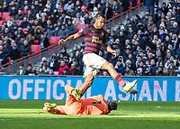 Football - 2018 / 2019 Premier League - Tottenham Hotspur vs. Newcastle United<br /> <br /> Hugo Lloris (Tottenham FC) rushes out to save at the feet of Salomon Rondon (Newcastle United)  at Wembley Stadium.<br /> <br /> COLORSPORT/DANIEL BEARHAM