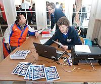AERDENHOUT - 09-04-2012 - De wedstrijdtafel van de KNHB, met Jelle Spree en David Voskamp maandag tijdens de finale tussen Nederland Jongens B en Spanje Jongens B  (3-1) , tijdens het Volvo 4-Nations Tournament op de velden van Rood-Wit in Aerdenhout. Jongens U16 wordt kampioen.FOTO KOEN SUYK