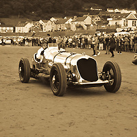 Brooklands-owned Napier Railton Special (1933) at Pendine Sands, 21 July 2015, for the commemoration of the 90th anniversary of Sir Malcolm Campbells new world landspeed record where he achieved 150miles/hr in his 350hp Sunbeam Blue Bird