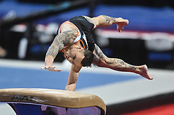 March 2, 2019 - Greensboro, North Carolina, US - BART DEURLOO from the Netherlands competes on the vault at the Greensboro Coliseum in Greensboro, North Carolina. (Credit Image: © Amy Sanderson/ZUMA Wire)