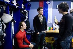 Andrej Hebar, Mitja Robar and Ales Kranjc at first practice of Slovenian National Ice hockey team before World championship of Division I - group B in Ljubljana, on April 5, 2010, in Hala Tivoli, Ljubljana, Slovenia.  (Photo by Vid Ponikvar / Sportida)