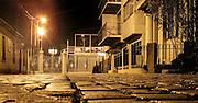 Pavemented street at night