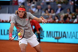 May 12, 2019 - Madrid, Spain - Stefanos Tsitsipas of Greece reacts in his match against Novak Đoković of Croatia in the final during day nine of the Mutua Madrid Open at La Caja Magica in Madrid on 12nd May, 2019. (Credit Image: © Juan Carlos Lucas/NurPhoto via ZUMA Press)