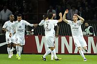 FOOTBALL - FRENCH CHAMPIONSHIP 2011/2012 - L1 - PARIS SAINT GERMAIN v SM CAEN  - 29/10/2011 - PHOTO JEAN MARIE HERVIO / DPPI - JOY THOMAS HEURTAUX (SMC) AFTER HIS GOAL