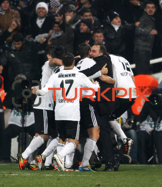 Besiktas's coach Carlos Carvalhal (R) celebrate goal during their Turkish superleague soccer match Besiktas between Gaziantepspor at BJK Inonu Stadium in Istanbul Turkey on Tuesday, 05 January 2012. Photo by TURKPIX